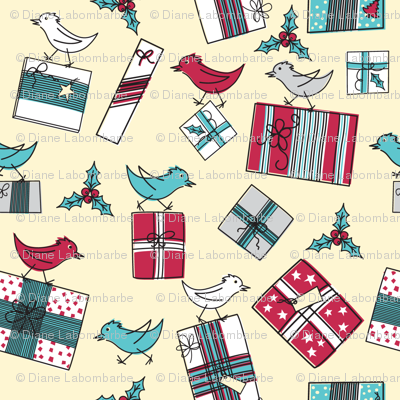 Retro Style Packages And Birds Christmas Pattern