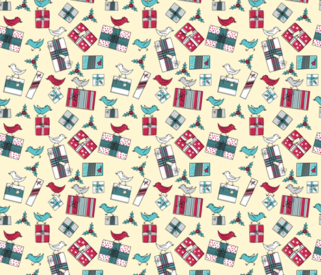 Retro Style Packages And Birds Christmas Pattern fabric by diane555 on Spoonflower - custom fabric