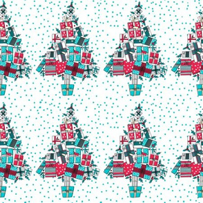Retro Style Christmas Trees Made of Gifts