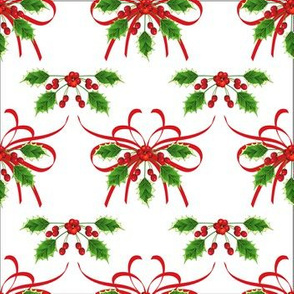 Holly &amp; Ribbons Christmas Pattern 