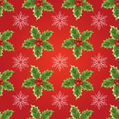 Holly &amp; Snowflakes On Red Christmas Pattern 