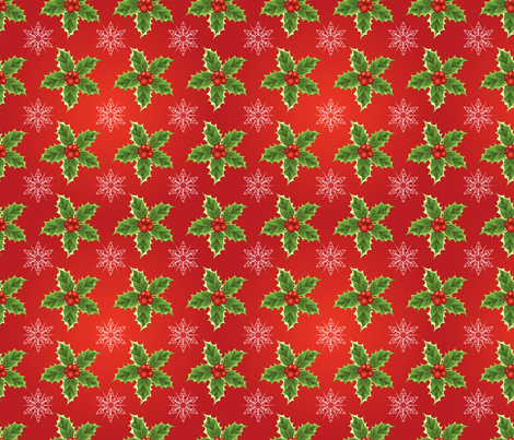 Holly & Snowflakes On Red Christmas Pattern  fabric by diane555 on Spoonflower - custom fabric