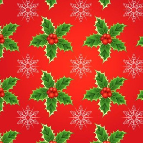 Holly & Snowflakes On Red Christmas Pattern