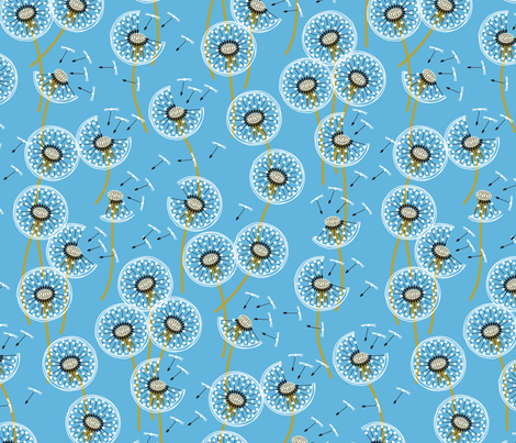 fanciful flight - make a dandelion wish! - sky blue fabric by coggon_(roz_robinson) on Spoonflower - custom fabric
