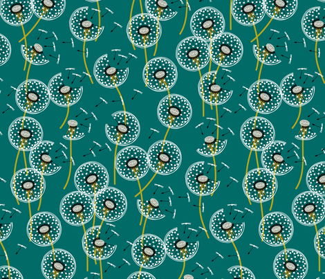 fanciful flight - make a dandelion wish! - teal fabric by coggon_(roz_robinson) on Spoonflower - custom fabric