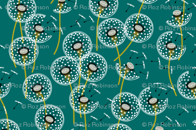 fanciful flight - make a dandelion wish! - teal