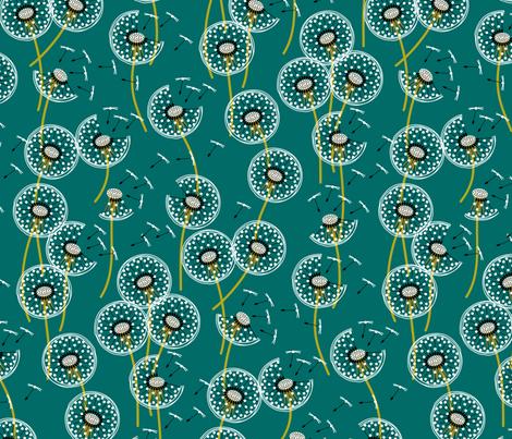 fanciful flight - make a dandelion wish! - teal fabric by coggon_(roz_robinson) on Spoonflower - custom fabric