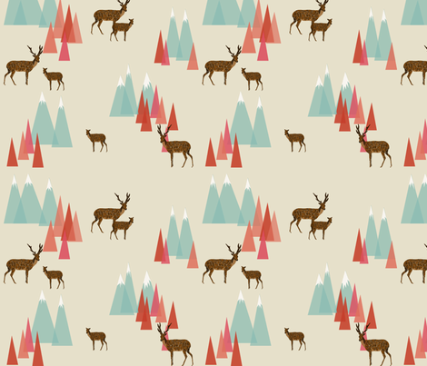 Deer in the Mountains // forest woodland mountain geometric deer woodland fabric by andrea_lauren on Spoonflower - custom fabric