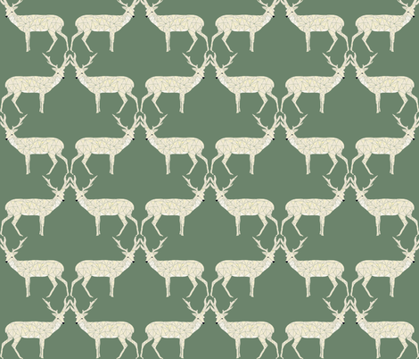 Christmas Deer - Sage Green fabric by papersparrow on Spoonflower - custom fabric