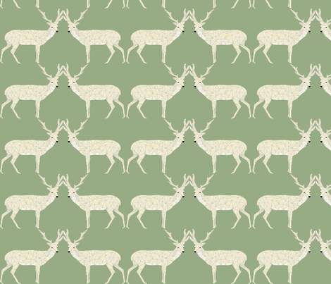 Christmas Deer - Light Sage fabric by papersparrow on Spoonflower - custom fabric