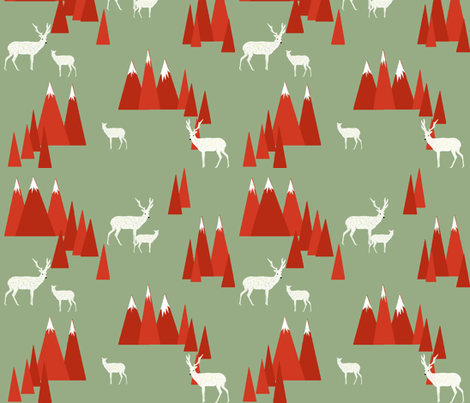 Christmas Deer - Woodland by Andrea Lauren fabric by andrea_lauren on Spoonflower - custom fabric