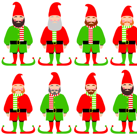 Santa's Christmas elves fabric by barbara_brownie on Spoonflower - custom fabric