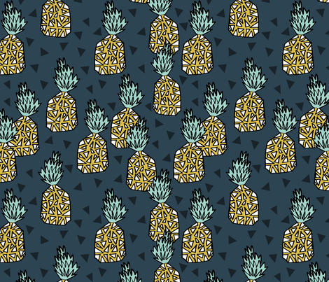 Pineapple - Parisian Blue by Andrea Lauren fabric by andrea_lauren on Spoonflower - custom fabric
