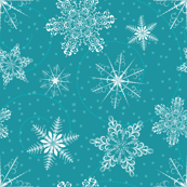 Blue Retro Snowflakes Pattern