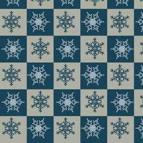 Blue Gold Holiday Snowflakes Pattern