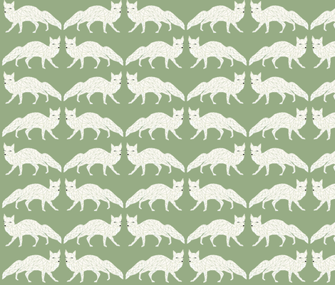Christmas Fox - Light Green Sage fabric by papersparrow on Spoonflower - custom fabric
