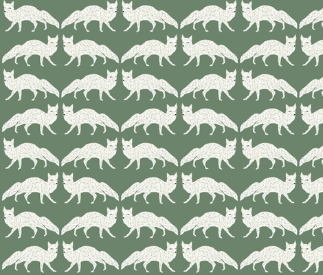 Christmas Fox - Dark Sage fabric by papersparrow on Spoonflower - custom fabric