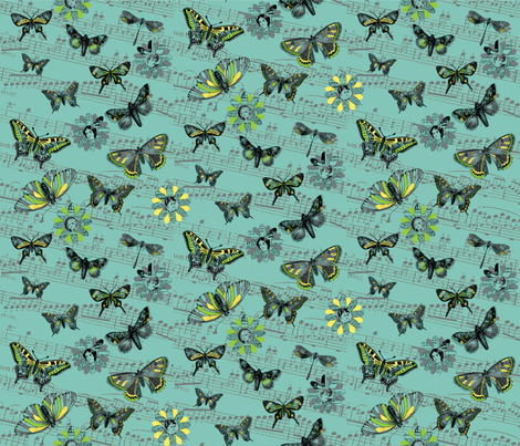 Flight_ofthe_Butterfly_teal fabric by peppermintpatty on Spoonflower - custom fabric