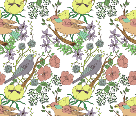 pastel bird garden fabric by michelleadoran on Spoonflower - custom fabric