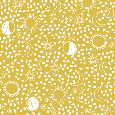 Sun, Moon, Stars - Mustard/White by Andrea Lauren