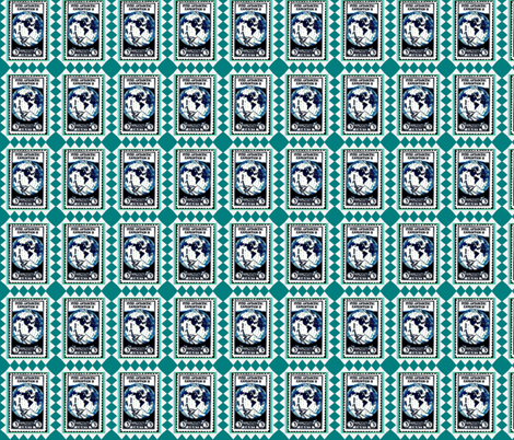 Byrd Antarctic Expedition Stamp fabric by robin_rice on Spoonflower - custom fabric