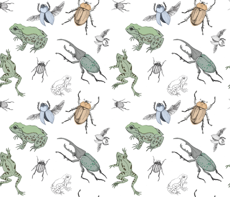 beetles and frogs fabric by michelleadoran on Spoonflower - custom fabric
