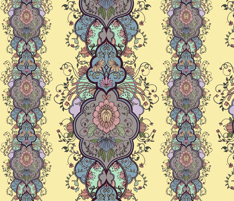 floral arabesque fabric by michelleadoran on Spoonflower - custom fabric
