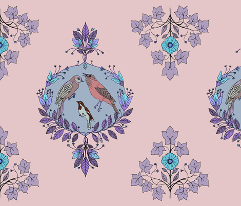 bird damask purple fabric by michelleadoran on Spoonflower - custom fabric