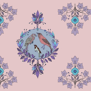bird damask purple