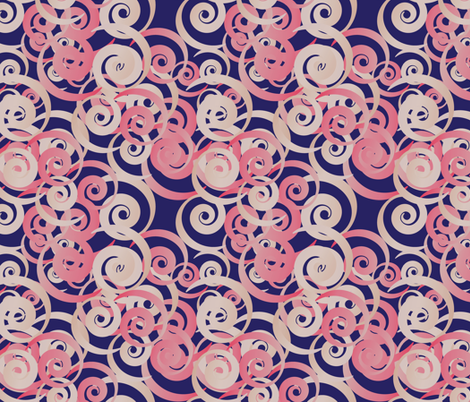 valentine ribbons on blue fabric by kociara on Spoonflower - custom fabric