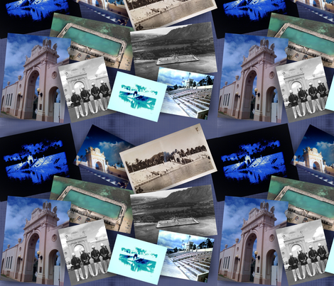 Waikiki NATATORIUM photo collage fabric by waiomaotiki on Spoonflower - custom fabric