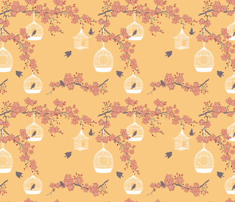 Cherry Blossoms and Bird Cages fabric by diane555 on Spoonflower - custom fabric