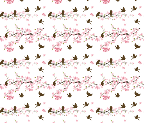 Cherry Blossoms &amp; Sparrows fabric by diane555 on Spoonflower - custom fabric