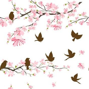 Cherry Blossoms & Sparrows