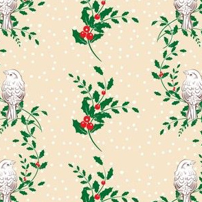 Sparrows and Holly Holiday Pattern