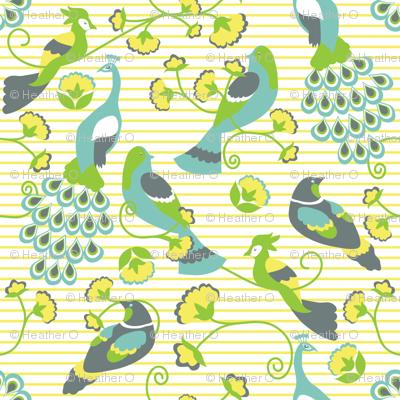 jacobean birds yellow background
