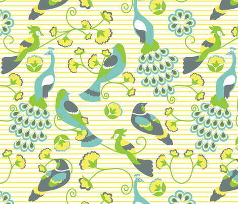 jacobean birds yellow background fabric by bbsforbabies on Spoonflower - custom fabric