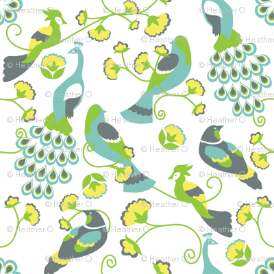 jacobean birds white background