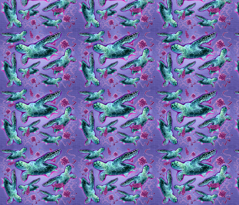 Honu Hawaiian Turtle, Pink fabric by waiomaotiki on Spoonflower - custom fabric