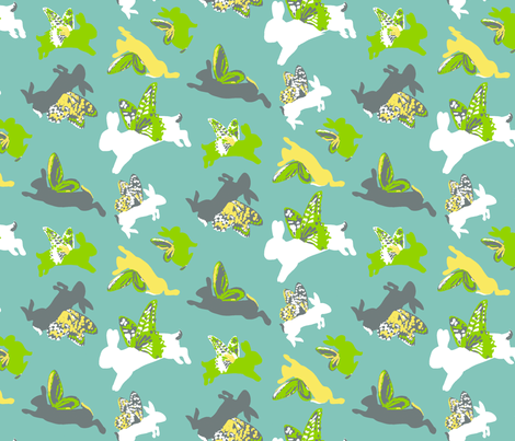 Flying_Byrd_Bunnies fabric by dusty_pony_design on Spoonflower - custom fabric