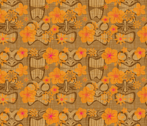 Vintage Tiki - coconut fabric by thecalvarium on Spoonflower - custom fabric