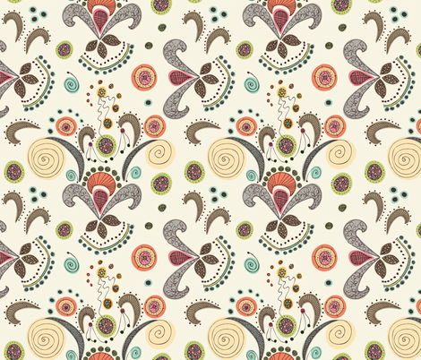 Wired Flower Pattern, Large Print fabric by janet_antepara on Spoonflower - custom fabric