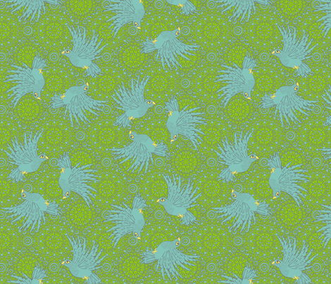 fancy flight 4 color  blue birds fabric by glimmericks on Spoonflower - custom fabric