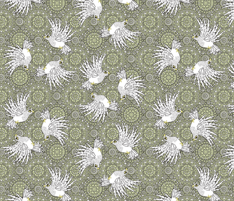 fancy_flight  white birds fabric by glimmericks on Spoonflower - custom fabric