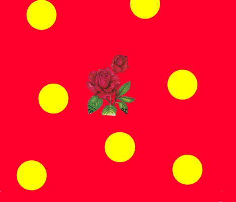 Cherry_Mustard_Dotty_Rose fabric by katy_dee on Spoonflower - custom fabric