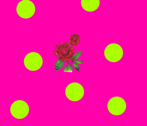Magenta_Lime_Dotty_Rose fabric by katy_dee on Spoonflower - custom fabric