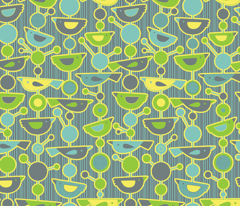 The Aviary's Atomic Daydream fabric by jennartdesigns on Spoonflower - custom fabric