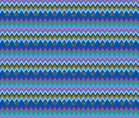 Peacock Chevron fabric by aftermyart on Spoonflower - custom fabric