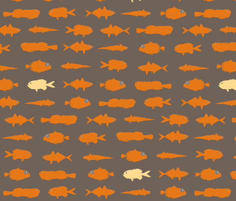Orange Fish Funk fabric by smuk on Spoonflower - custom fabric