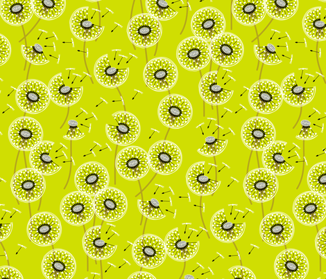 fanciful flight - make a dandelion wish! - grass green fabric by coggon_(roz_robinson) on Spoonflower - custom fabric